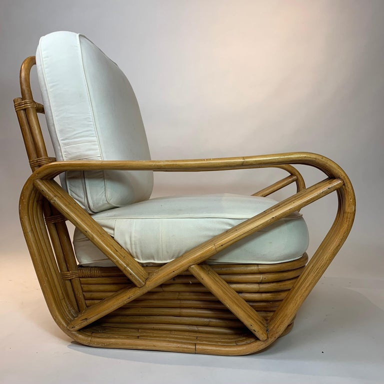 Pair of Rattan 1940s Paul Frankl Style Pretzel Chairs with Ottoman from Japan For Sale 5