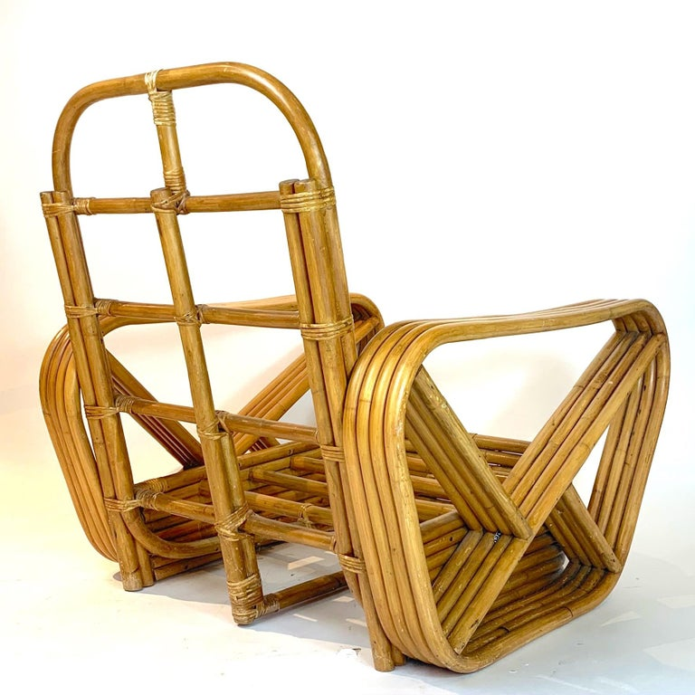 Mid-Century Modern Pair of Rattan 1940s Paul Frankl Style Pretzel Chairs with Ottoman from Japan For Sale