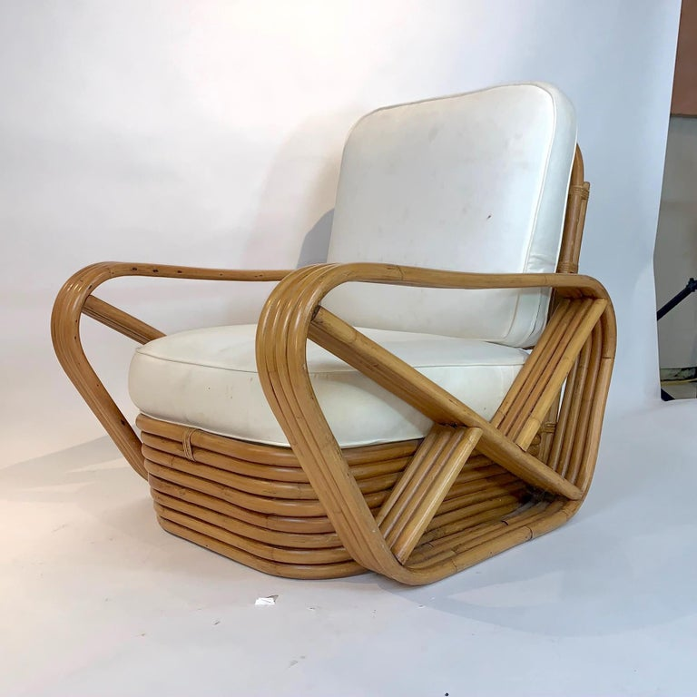 20th Century Pair of Rattan 1940s Paul Frankl Style Pretzel Chairs with Ottoman from Japan For Sale