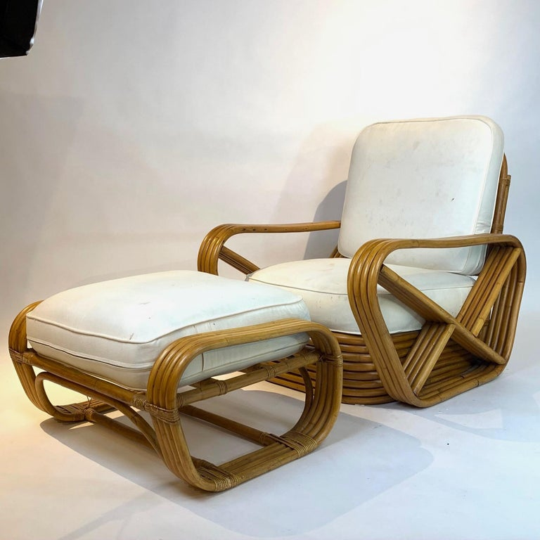 Cane Pair of Rattan 1940s Paul Frankl Style Pretzel Chairs with Ottoman from Japan For Sale