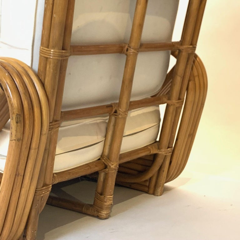 Pair of Rattan 1940s Paul Frankl Style Pretzel Chairs with Ottoman from Japan For Sale 1