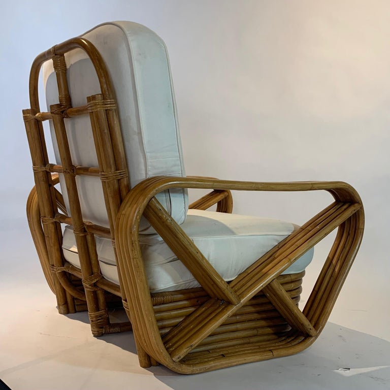Pair of Rattan 1940s Paul Frankl Style Pretzel Chairs with Ottoman from Japan For Sale 2