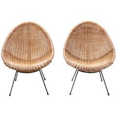 Pair Rattan 'Basket' Easy Chairs