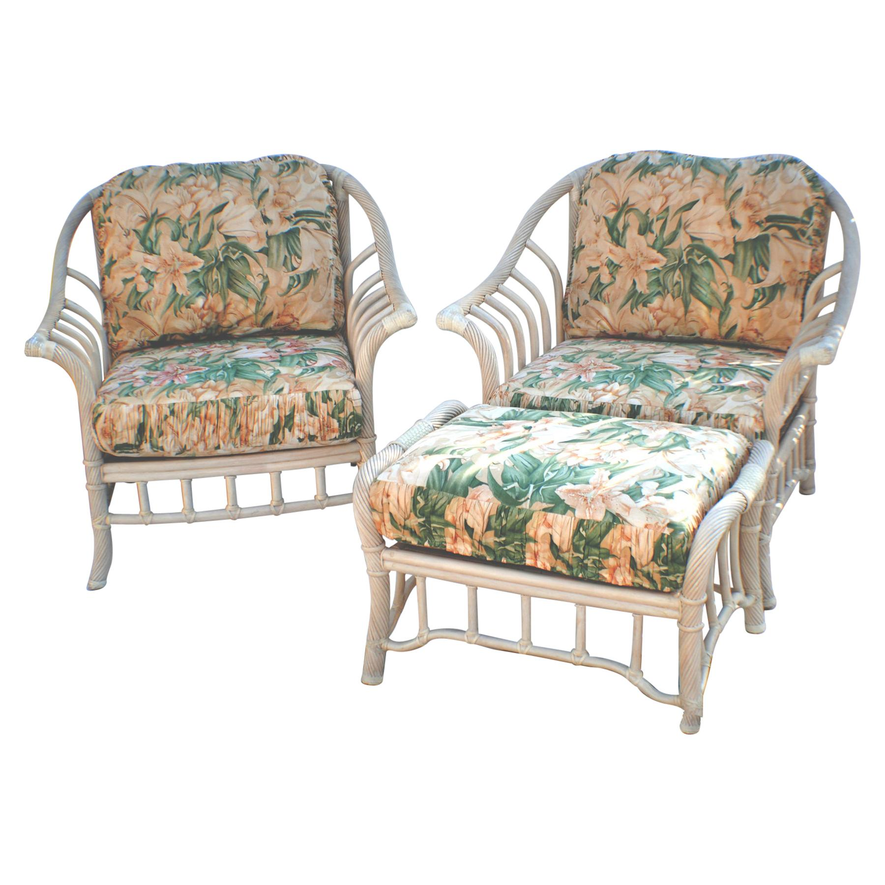 Pair Of Rattan Chairs With Ottoman