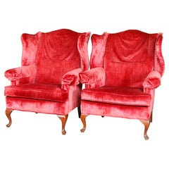 Pair Red Crushed Velvet & Mahogany Queen Anne Style Fireside Chairs, 20thC
