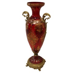 Pair Red Crystal and Brass Vase, Red Cut Crystal De Bohemia