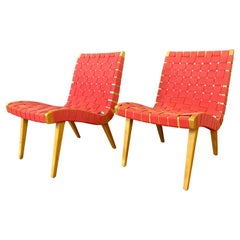 Pair Red Jens Risom Designed Lounge Chairs for Knoll