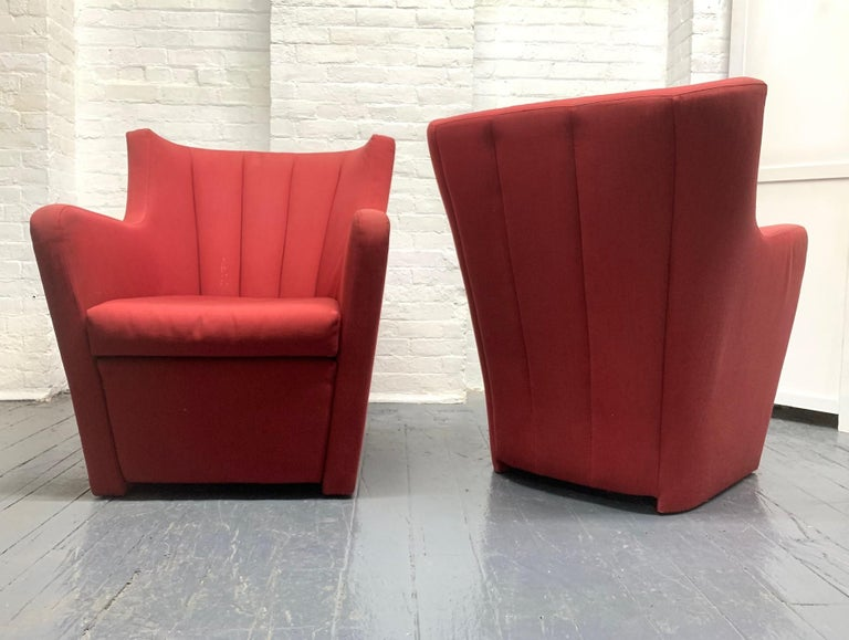 Pair of Redele lounge chairs by Gerrit Rietveld for Cassina. The chairs have the original upholstery.