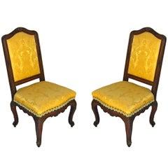 Pair Regence Walnut Side Chairs, c1725