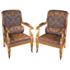 Pair of Regency Period White Painted and Giltwood Armchairs