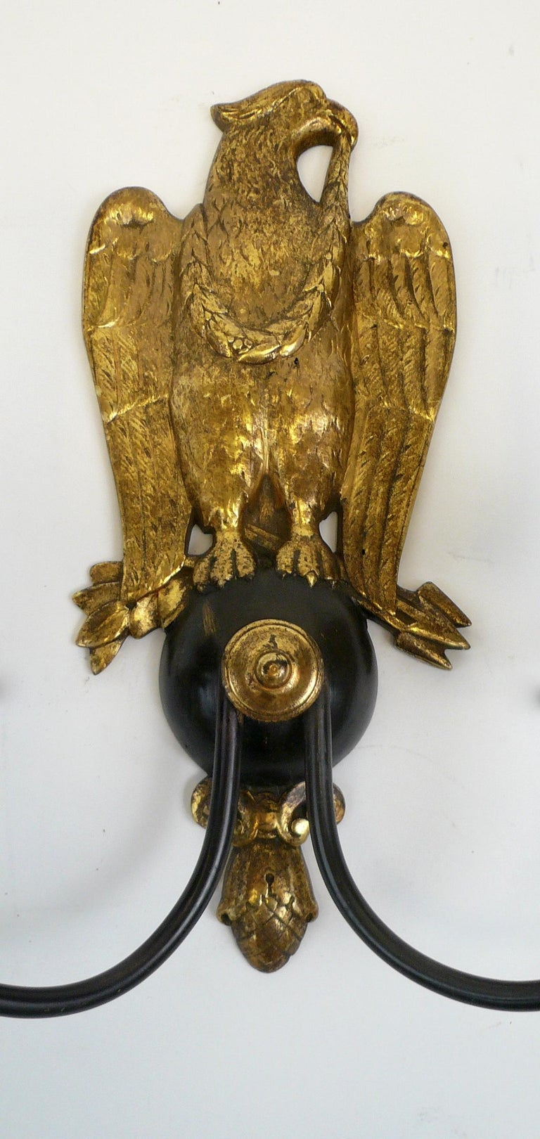 Pair of Regency Style Bronze Eagle Sconces Attributed to E, F, Caldwell For Sale 3
