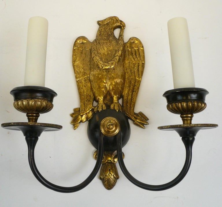 American Pair of Regency Style Bronze Eagle Sconces Attributed to E, F, Caldwell For Sale