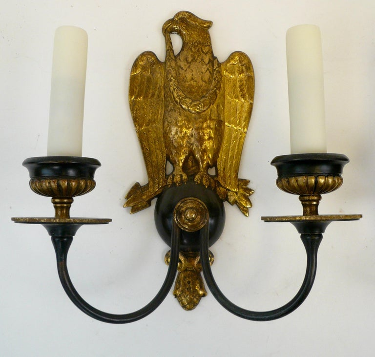 Patinated Pair of Regency Style Bronze Eagle Sconces Attributed to E, F, Caldwell For Sale
