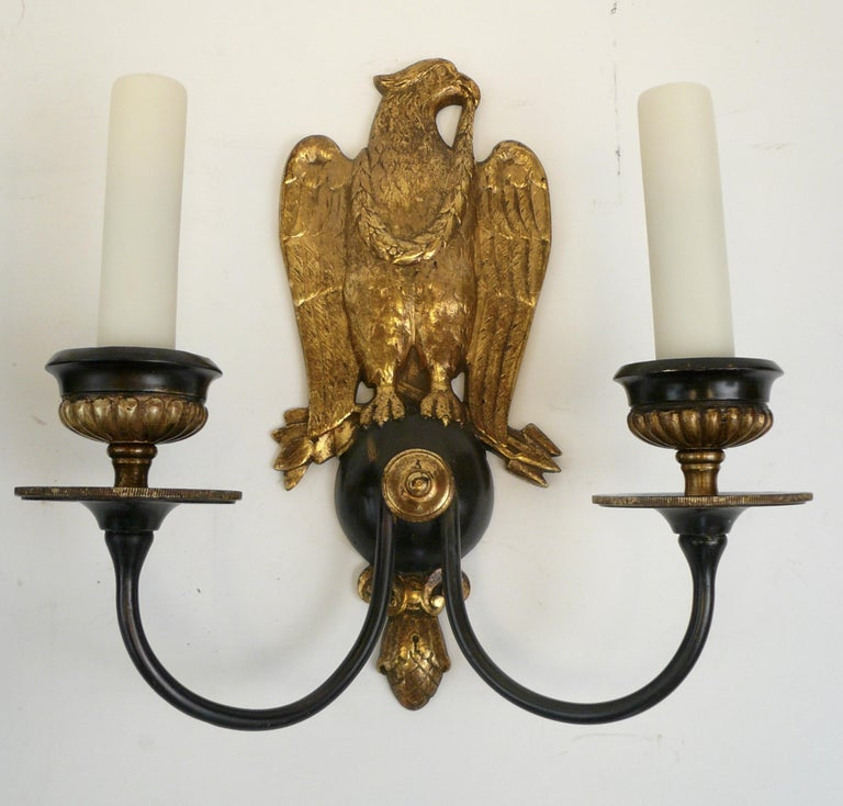 20th Century Pair of Regency Style Bronze Eagle Sconces Attributed to E, F, Caldwell For Sale