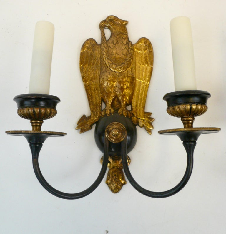 Pair of Regency Style Bronze Eagle Sconces Attributed to E, F, Caldwell For Sale 1