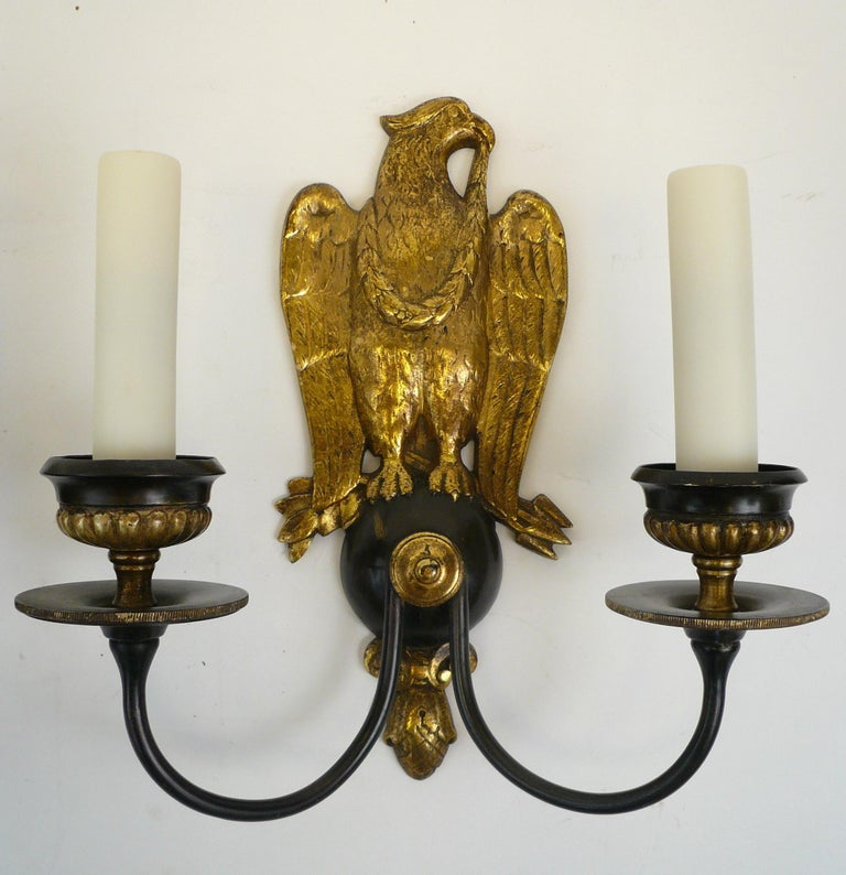 Pair of Regency Style Bronze Eagle Sconces Attributed to E, F, Caldwell For Sale 2