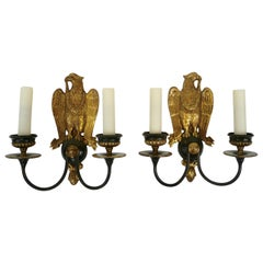 Pair of Regency Style Bronze Eagle Sconces Attributed to E, F, Caldwell