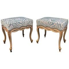 Regency Style Designer Taboret Benches with Cut Velvet Zebra, Randy Esada, Pair