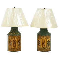 Pair Regency Tole Tea Tin Lamps
