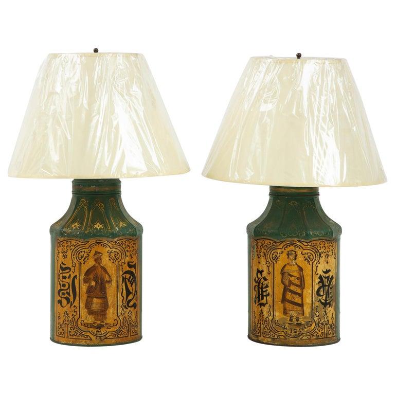 Pair Regency Tole Tea Tin Lamps For Sale