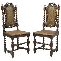 Pair, Renaissance Revival Carved Oakwood Black Forest Barley Twist Cane Chairs A