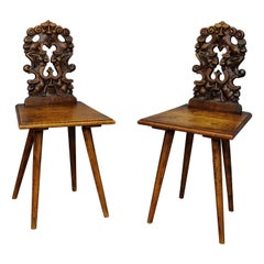 Pair Renaissance Style Carved Children Chairs, Ca. 1890