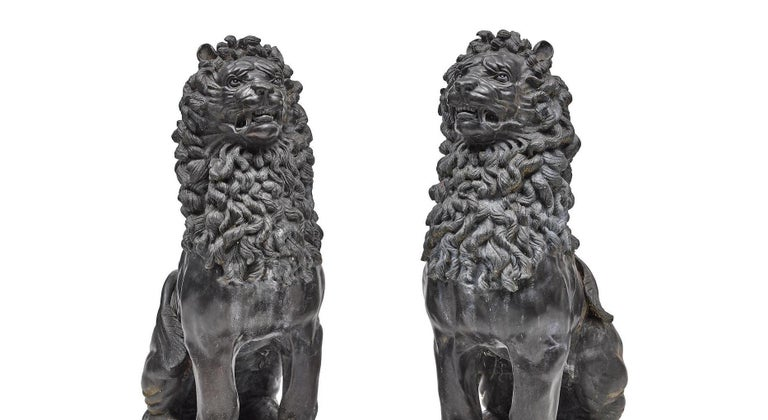 Pair of Renaissance Style Patinated Bronze Guardian Lions In Good Condition For Sale In Cypress, CA
