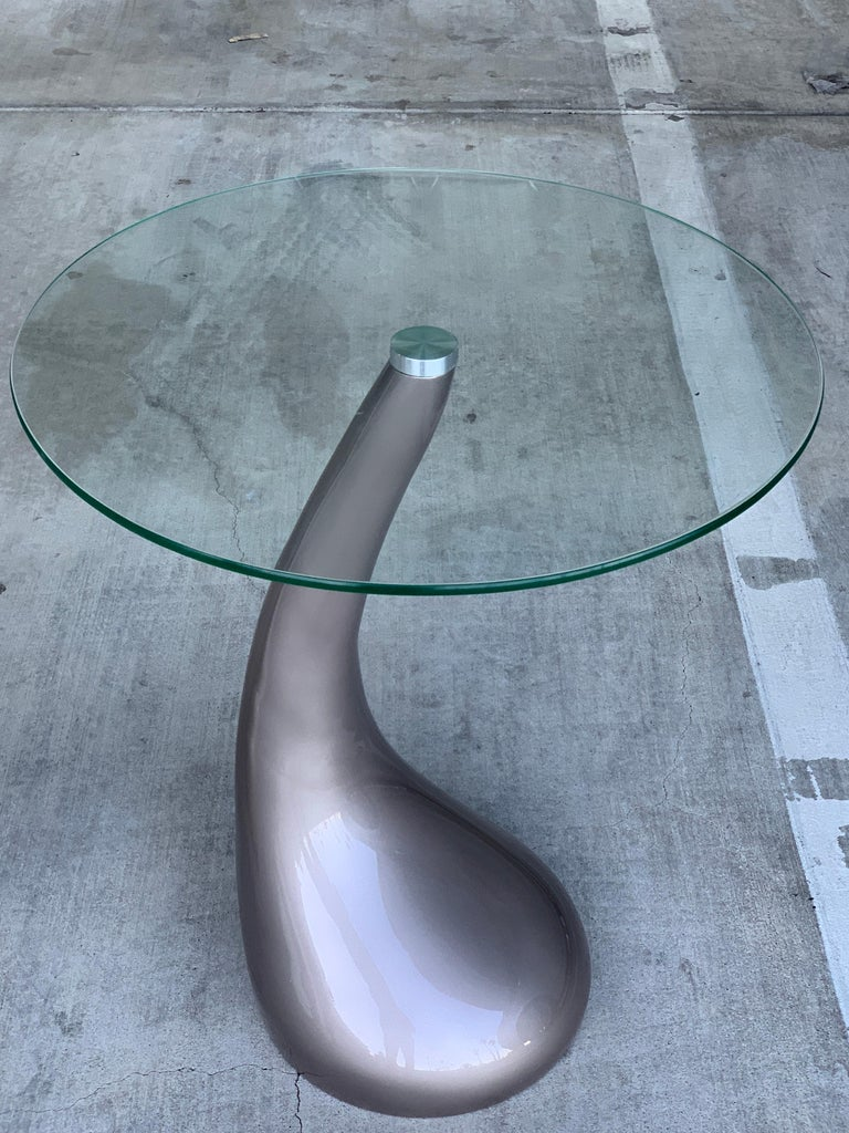 Pair of Resin and Glass Top Tables For Sale 1