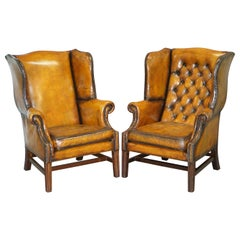 Restored of His & Hers Chesterfield Wingback Armchairs Cigar Brown Leather, Pair