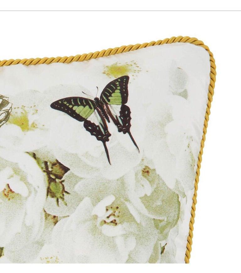Roberto Cavalli Home Collection Flora & Fauna Signature Silk Throw Pillows, Pair For Sale 3