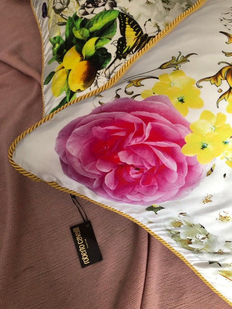 Modern Roberto Cavalli Home Collection Flora & Fauna Signature Silk Throw Pillows, Pair For Sale