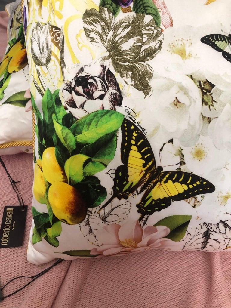 Contemporary Roberto Cavalli Home Collection Flora & Fauna Signature Silk Throw Pillows, Pair For Sale