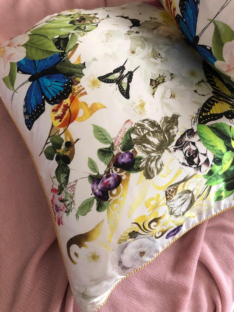 Roberto Cavalli Home Collection Flora & Fauna Signature Silk Throw Pillows, Pair For Sale 1