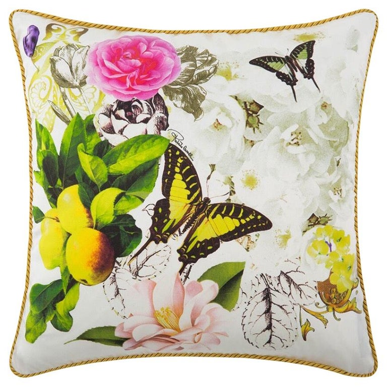 Roberto Cavalli Home Collection Flora & Fauna Signature Silk Throw Pillows, Pair For Sale