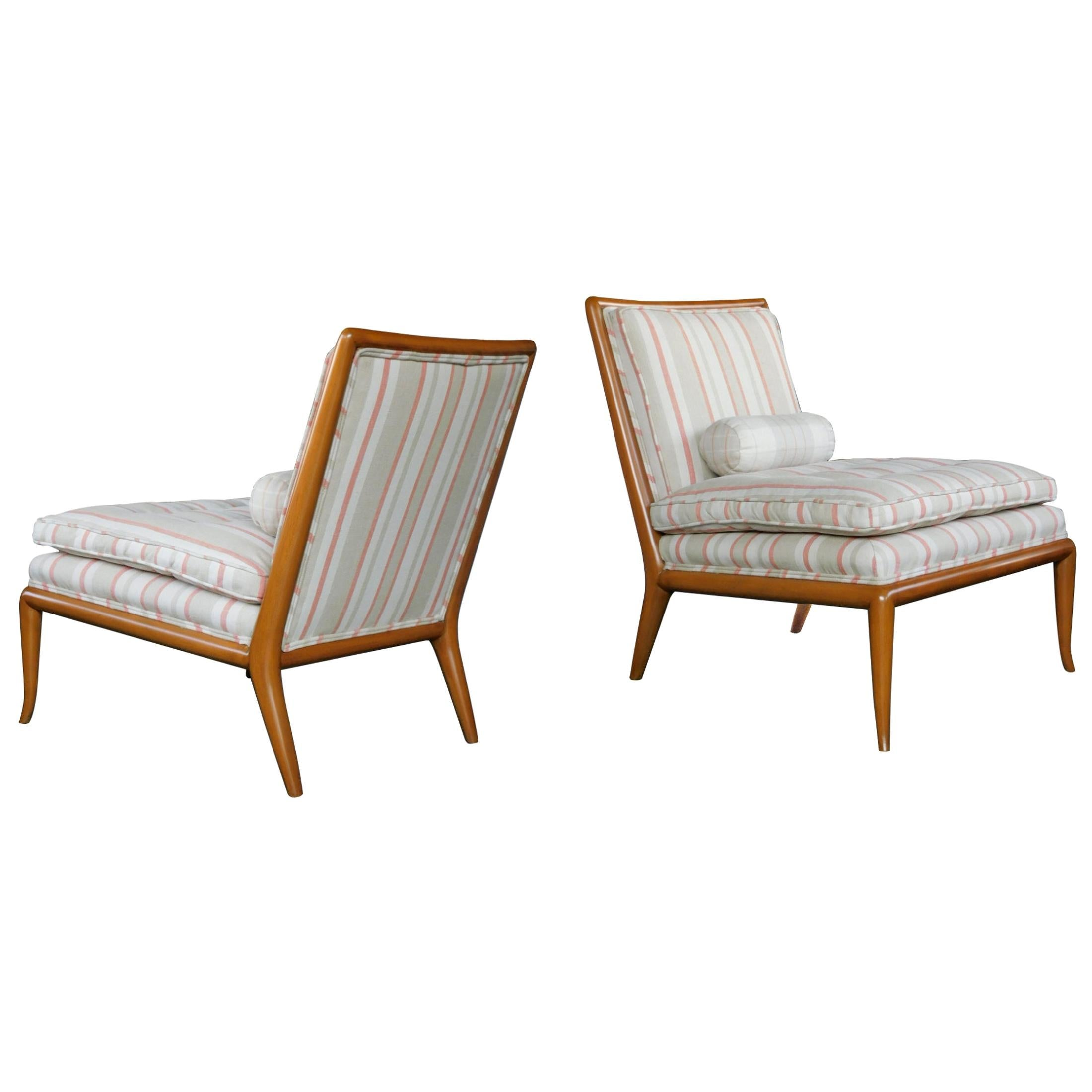 Pair of Robsjohn-Gibbings for Widdicomb Midcentury Walnut Slipper Chairs