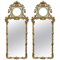 Rococo Revival Style Paint Decorated and Giltwood Console or Wall Mirrors, Pair