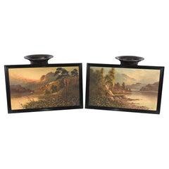 Pair Romantic Oil Paintings English Landscape Barnstable Devon