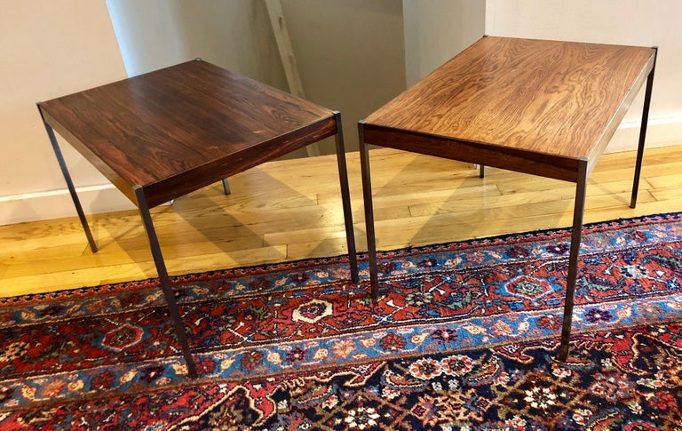 Pair of side tables designed by Osten and Uno Kristiansson for Luxus of Sweden.