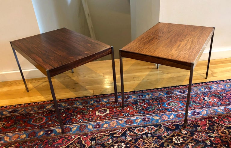 Mid-Century Modern Pair of Rosewood and Aluminum Sidetables by Luxus For Sale