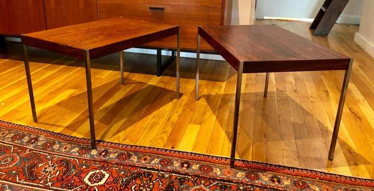 Swedish Pair of Rosewood and Aluminum Sidetables by Luxus For Sale
