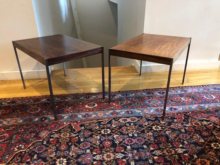 Brushed Pair of Rosewood and Aluminum Sidetables by Luxus For Sale