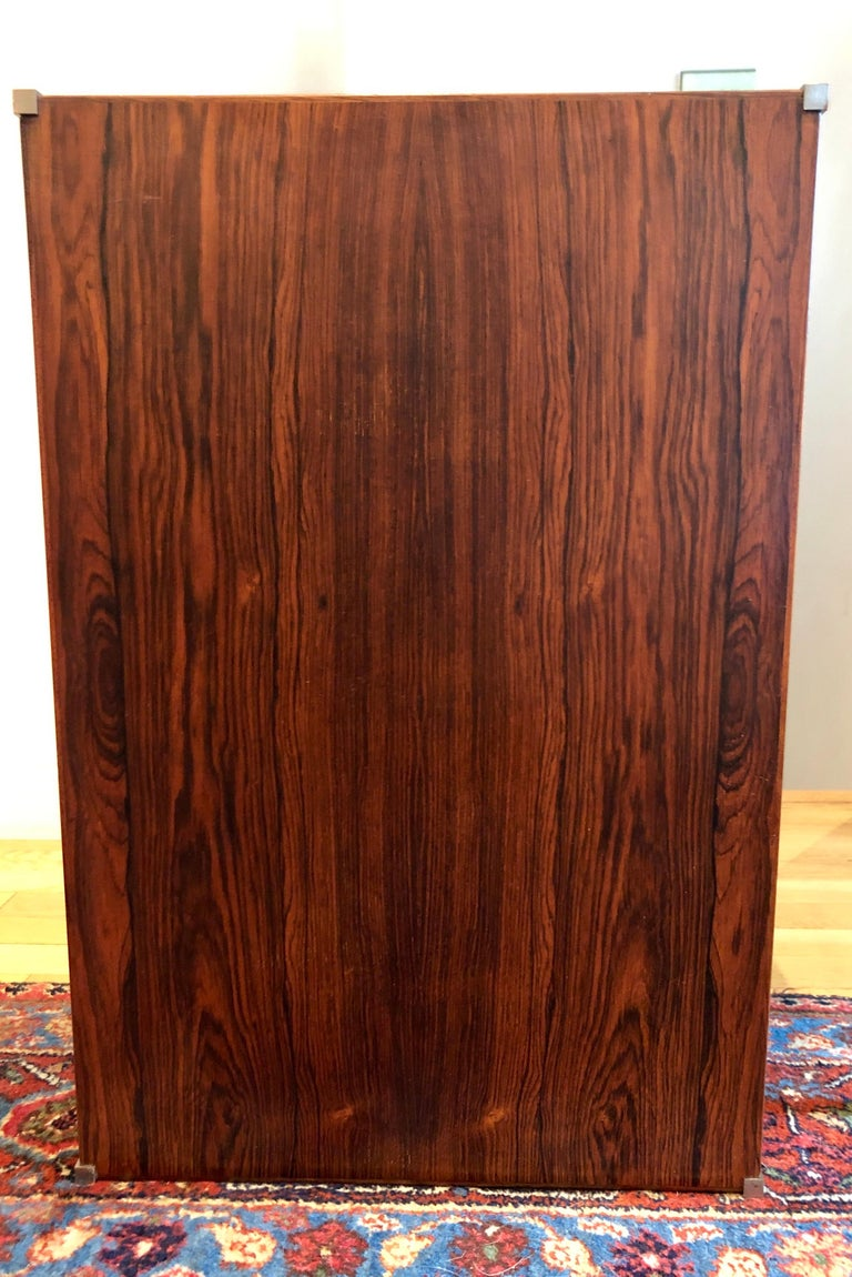 Pair of Rosewood and Aluminum Sidetables by Luxus In Good Condition For Sale In Hudson, NY