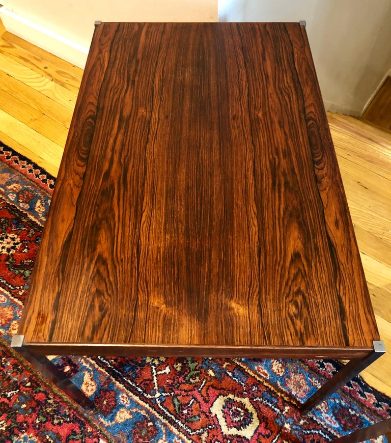 Mid-20th Century Pair of Rosewood and Aluminum Sidetables by Luxus For Sale