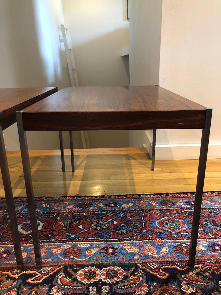 Pair of Rosewood and Aluminum Sidetables by Luxus For Sale 1