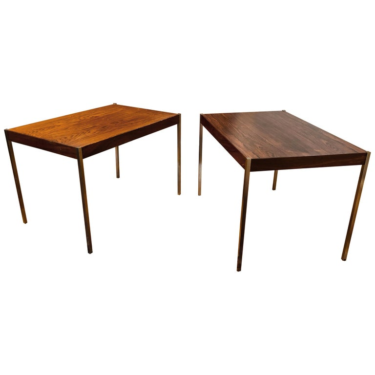 Pair of Rosewood and Aluminum Sidetables by Luxus For Sale