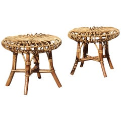 Pair of Round Midcentury Stools Bamboo Curved Minimal Italian Design Brown