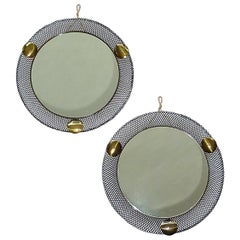 Pair Round Midcentury Wall Mirrors Brass Black Stretched Metal 1955 Mategot Biny