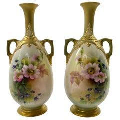 Pair Royal Worcester Vases, George Cole, D 1908