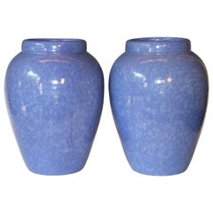 RRP CO Oil Jars McCoy Vases Mottled Blue Large Vintage Floor Pottery Urns, Pair