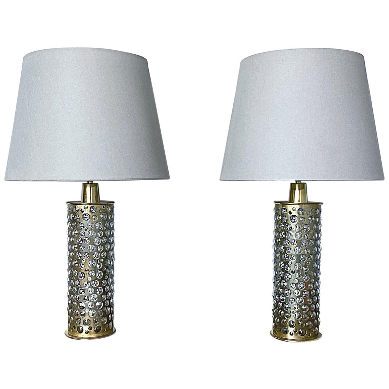 Pair of Rupert Nikoll Brass and Bubble Glass Table Lights, 1960s, Austria